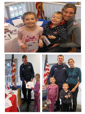The Richards family of Brigantine - children Sylvia and Gavin, father/Coast Guard service member Tyson and mom Valerie- stopped by the Brigantine branch of the Atlantic County Library System to make Thank You cards for local veterans.